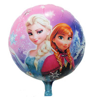 Wholesale Toy Balloon Festival - 100 Pcs Frozen Balloons Party Decoration Cartoon Balloons Toy Festival Elsa And Anna 18 inch round Foil Aluminum Balloons