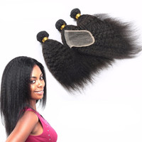 Cheap Mongolian Hair kinky straight with closure Best kinky straight $80-$190 yaki human hair with closure