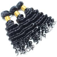 peruvian remy saç paketi toptan satış-Perulu derin dalga remy saç uzantıları Makine Çift Atkı 3 demetleri 8-30 inç Doğal Renk Boyalı Olabilir ve Ağartılmış 100 doğal İnsan saç