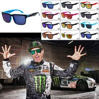 Wholesale Wholesale Eyewear For Styling - Fashion Multi Color Sunglasses Ken Block American Style Sunglasses Colorful Reflective Sports Eyewear Racing Sunglasses For Men