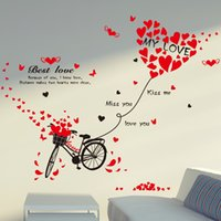 Wholesale Love Bicycle Wall - 50*70cm Wall Stickers DIY Art Decal Removeable Wallpaper Mural Sticker for Bedroom Kids Room Living Room XL7121 Love Heart Bicycle