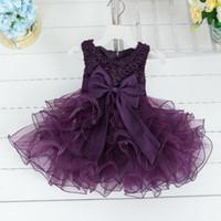 robe de soirée achat en gros de-Hot Lace flower girls robe de mariée bébé filles baptême gâteau robes pour fête occasion enfants 1 an bébé fille robe d'anniversaire