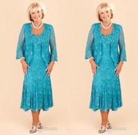 robe de mariée achat en gros de-Hunter Full Lace Mother Dresses 2016 Custom Made élégant Une ligne thé longueur mère de la mariée robes de mariée avec dentelle robes de soirée Bolero