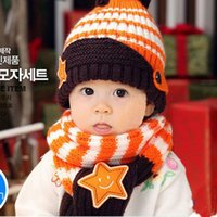 Wholesale Toddler Red Scarf Hat - 2pcs Set Baby Cute Star Design Toddler Girls Boys Winter Warm Cartoon Hat Hooded Scarf Earflap Knitted Cap