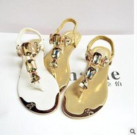 Wholesale Low Heel Strap Shoes - 2018 new summer ladies sandals rhinestones after the wrist trip with flip-flops to help flat shoes metal head