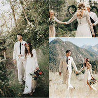 Wholesale long sleeve deep back wedding dress for sale - Group buy 2018 Sexy Wedding Dresses Lace Applique Split Front A Line Deep V Neck Sheer Long Sleeves Button Back Bridal Gowns