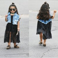 Wholesale Girls Skirt Cowboy - Brand New Fashion Autumn Baby Denim Girl Dress Girl Lace dress with Cowboy Coat Lace Skirt 3T to 8T