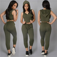 Wholesale Sexy Race Girls - 2016 New Collection 2 Pieces Pant Set Women and Big Girl Sleeveless Fashion Slim Sexy Top With Pant Suit Hoodie Short Top+Mid-Pants A