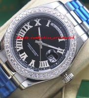Wholesale mens black platinum watch resale online - Luxury Watches Mens Platinum II Black Dial Diamond Roman Numerals Automatic Fashion Brand Men s Watch Wristwatch