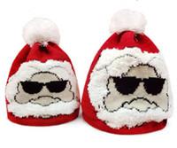 Wholesale santa hat beanie - 2018 Chirstmas Parent-child Cap Crochet Santa Claus Hats Autumn & Winter Outdoor Warm Crochet Caps Adult Child Beanie With Pompon