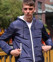 Wholesale Blue Cotton Men Jacket - Europe And The United States Men 's Jacket Zipper Hooded Short Jacket Winter Long - sleeved Cotton Hooded Collar Green Black Blue A - 150