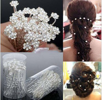 Wholesale Platinum White Hair - 2016 Wedding Accessories Bridal Pearl Hairpins Flower Crystal Rhinestone Diamante Hair Pins Clips Bridesmaid Women Hair Jewelry 40 pcs Lot