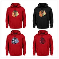Wholesale Men S Skull Heads - Free Shipping Chicago Blackhawks Old Time Hockey Big Logo with Crest Pullover Hoodie Red or Black With Skull Head Sweatshirts
