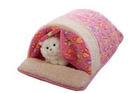Wholesale Dog Cotton Nest - 3 Colors Mechanical Wash Standard Pet Kennels Dog Tent with Curtain Guinea Pig Cage MATS Cat Nest Summer Air-Conditioning Mat Size M L