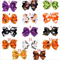 Wholesale Spider Clip - 14 Design Girls Halloween pumpkin hairpins Barrettes children spider hair accessories princess Layered Bow Hair clips B