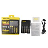 Wholesale E Cigarette Battery Lcd - NITECORE I2 I4 LCD Digital Charger Universal Intelligent E Cigarette Charger For 18350 18650 26650 Li-ion IMR Battery
