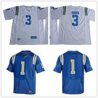 Wholesale Phillips Blue - Custom 2017 UCLA Bruins College Football #3 Josh Rosen Brandon Burton 15 Jaelan Phillips 42 Robinson 8 Aikman Stitched blue white Jerseys