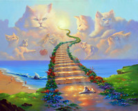 Wholesale Rainbow Heaven - RAINBOW BRIDGE All Cats Go to Heaven Art Print On Canvas. NO.J001
