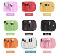 Wholesale Eye Shadow Sponge Brush - Fashion New Makeup Brushes Make Up Brush Set Kits Eyelash Brush Blush Brush Eye-shadow Brush Sponge Sumudger 7pieces Make Up Tools PU Bag
