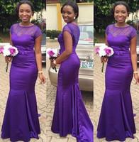 Wholesale Short Taffeta Wedding Dress Sweetheart - 2017 African Purple Mermaid Bridesmaid Dresses Sheer Neck Crystal Vestidos Longo Wedding Guest Bridesmaids Dress Long Maid of Honor Dresses