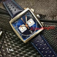 Wholesale Monaco Leather - 2017 New classic men luxury quartz movement Calibre 36 RS Caliper fashion watches Chronograph Men's monaco watch AAA quality wristwatches