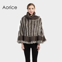 Wholesale Knitted Rabbit Fur Shawls - CK706 Real Knitted rabbit fur turtle neck sweater shawl poncho stole cape scarf warm wrap women 2 color