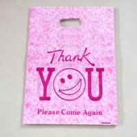 """Wholesale jewelry bags plastic designs - Wholesale Hot Pink """"Thank You"""" Design Plastic Bag 25x35cm 50pcs lot Shopping Jewelry Packaging Plastic Gift Bags With Handle"""