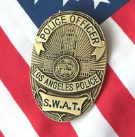 Wholesale Favorite souvenir Angeles LAPD SWAT S W A T metal badges badge clip coins