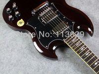 corpos de violão envelhecido venda por atacado-Top Venda Personalizado Thunderstruck AC DC Angus Jovem Assinatura SG Envelhecido Vermelho Cereja Mahogany Corpo Elétrico Da Guitarra Elétrica lightning bolt inlays