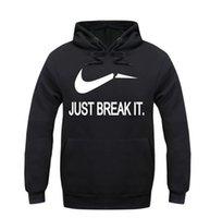 Wholesale Sportwear For Men - 2016 Fleece Casual Unisex Hoodies Sweatshirt Just Break It Hip Pop Pullover Mens Sportwear Coat Jogger Tracksuit For man
