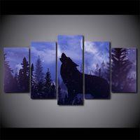 ingrosso tela incorniciata di tela di canapa-5 pezzi incorniciati HD Stampato Moon Night Black Wolf Wall Canvas Painting Modern Poster Picture Hang Artworks