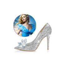 Wholesale Crystal Sewing Buttons - Classical Cinderella Glass Sandals Crystal Wedding Bridal Shoes high Thin heels Pointed Toe pumps Rhinestone Sweet Women Shoes