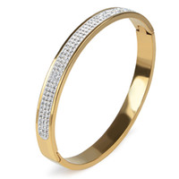 Wholesale 12 Rows Rhinestone - 12 Styles 3 Rows Rhinestone 18K Gold Plated Love Bangle Bracelet Cuff Crystal Open Stainless Steel Bangle Women Wedding Jewelry