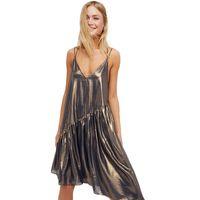 Wholesale Ruffle Summer Dress - Women Slip Asymmetric Dress summer autumn Metallic Solid Gold Spaghetti Strap Plunge Neck Sexy Vestidos Ruffles Club Party evening Dress new