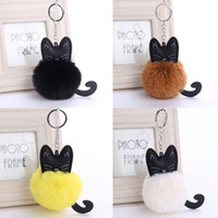 Wholesale wood cross keychain - 4 Color Cute Fluffy Black Cat Keychain Pompom Faux Rabbit Fur Ball Key Chain Bag Women Key Ring Holder Handbag Charm Pendant