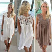 Wholesale Womens White Sun Dresses - New Boho Style Women Lace Dress Summer Loose Casual Beach Mini Swing Dress One Piece Playsuits Chiffon Bikini Womens Clothing Sun Dress