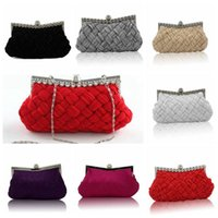 Wholesale Wholesale Crystal Evening Handbags - Handmade Evening Bags Silks and Satins Knitting Pleated Bags Women Fashion Crystal Party Handbags Clutch Purse Wedding Hand Bags OOA3027