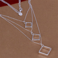 Wholesale Cubic Zirconia Tennis Necklaces - Hot sale Three-line tripartite grid necklace sterling silver necklace STSN136,fashion 925 silver necklace factory direct sale christmas gift