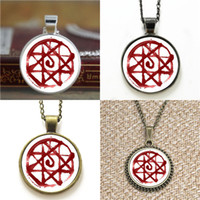 Wholesale Fullmetal Alchemist Necklace - 10pcs Fullmetal Alchemist Inspired Blood Seal glass Dome Pendant Necklace keyring bookmark cufflink earring bracelet