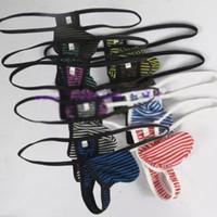 schmaler string großhandel-Großhandels-Mens reizvoller Zapfenbeutel niedriger Taille schmaler Streifen weicher Polyester-Baumwolle kleiner Streifen