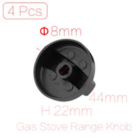 Atacado-4 Pcs / Lote 8mm Orifício Inner Diâmetro 44mm Dia Base Black Plastic Rotary Switch Knob Case for Gas Cooktop