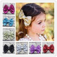 Wholesale Lace Headband Hairband - Baby Girls Hairband Big Bowknots Sequin Hair Clips Shine Barrettes 11 Color Holiday Gift For Children Hair Accessories 11 Pcs