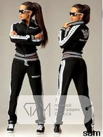 Wholesale Costumes Woman Sale - Hot sale 2016 Spring women's Tracksuits women Letter costume Sport Suit Sweatshirt 2 piece set for women tracksuit Girls Hoodies