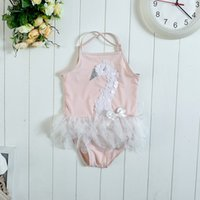 Wholesale Summer Baby Girl Bathing Suits - 2016 Flamingo Swan Baby Girls Swimwear Cartoon Lace Ruffle Kids Swimsuit Fashion bathing suit Girl Swimming Summer Set