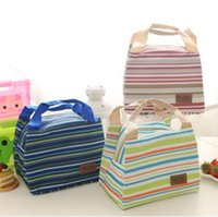 Wholesale Oxford Picnic - Portable Lunch Bag Zipper Oxford Stripe Cooler Bag Thermal Insulation Bags Travel Picnic Food Lunch Bag for Women Girls Kids Handbags