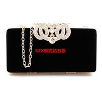 Crown diamants velvet women bag day clutches petit sac à main sac en cristal sacs de soirée noir / rouge candy color tote packet téléphone forfait