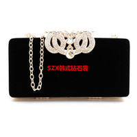 Wholesale Korean Packet - Crown diamonds velvet women bag day clutches small purse bag crystal evening bags black   red candy color tote packet phone package