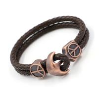 Wholesale Men Peace New Bracelets - New Arrival Anchors Peace sign Charm Bracelets Fashion PU Leather bracelets Friendship Bangles Wristband For Men Women Tide Jewelry Gifts