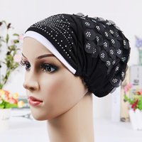 Wholesale Girl Scarf Hat Flower - 2016 New Design Islamic Scarves Wraps Hijab caps Womens Muslim Inclusive Cap Crystal Flower Muslims Hat hijab undercaps black