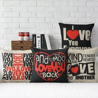 Wholesale Sales Forever - 45cm I love You Forever Wedding Gift Cotton Linen Fabric Waist Pillow 18inch Hot Sale New Home Decorative Sofa Car Back Cushion